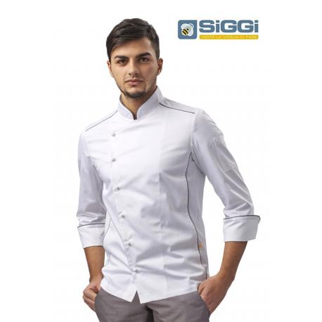 Giacca cuoco bianca con profilo grigio,  traspirante- Siggi