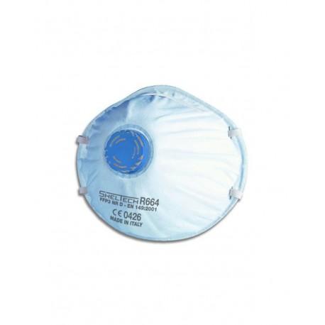 Respiratore Sheltech con valvola per polveri e fumi FFP3 NR D-Confezione da 10 pezzi
