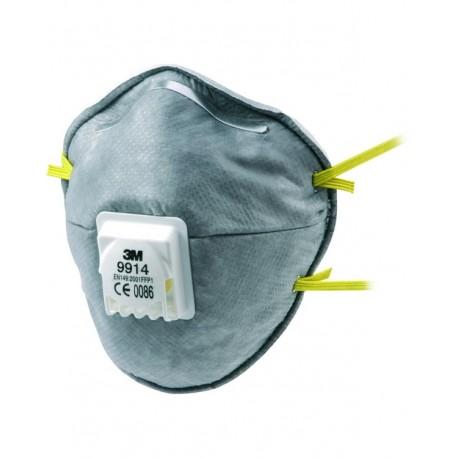 Respiratore 3M 9914 con valvola per polveri e odori FFP1-Confezione da 10 pezzi