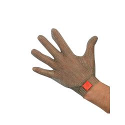Guanto da lavoro antitaglio in acciaio inox 5 dita con gancetto plastico per macellai