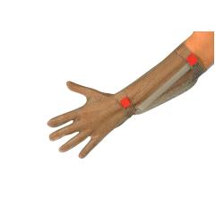 Guanto da lavoro antitaglio in acciaio inox 5 dita con avambraccio e cinturino in plastica per macellai