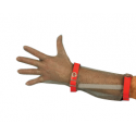 Guanto da lavoro antitaglio in acciaio inox 5 dita con avambraccio e cinturino plastico per macellai