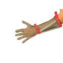 Guanto da lavoro antitaglio in acciaio inox 5 dita con avambraccio e cinturino in stoffa per macellai