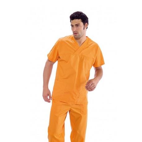 Casacca da lavoro colours scollo a V maniche corte unisex polyestere e cotone per infermieri- Isacco