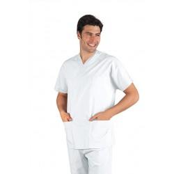 Casacca da lavoro colours bianca scollo a V maniche corte unisex 100% cotone per infermieri, medici- Isacco