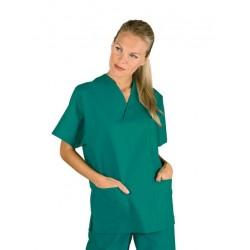 Casacca da lavoro colours scollo a V maniche corte unisex 100% cotone per infermieri, medici, OSS- Isacco