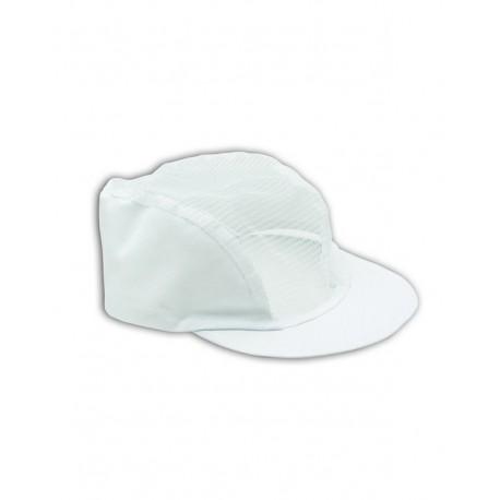 Cappellino da lavoro bianco con visiera e rete per settore alimentare