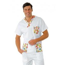 Casacca da lavoro Smile scollo a V maniche corte unisex per clown terapy, infermieri pediatrici- Isacco
