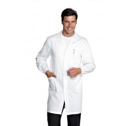 Camice da lavoro antiacido con polsini, bottoni a pressione per periti chimici, biotecnologi- Isacco