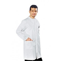 Camice da lavoro bianco uomo con polsini, 100% cotone per medici, biologi, farmacisti- Isacco