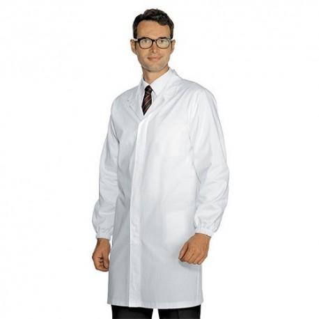 Camice da lavoro bianco uomo con tasche interne per medici, farmacisti, nutrizionisti- Isacco