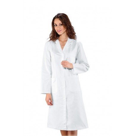 Camice da lavoro Vichy bianco maniche lunghe donna per biologi, farmacisti, medici- Isacco