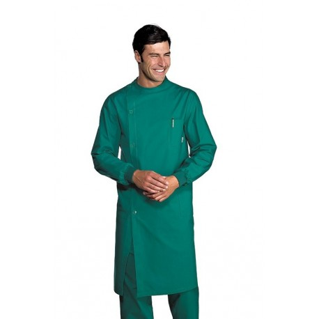 Camice da lavoro dentista verde polsi in maglia, chiusura laterale per odontotecnici, dentisti-Isacco