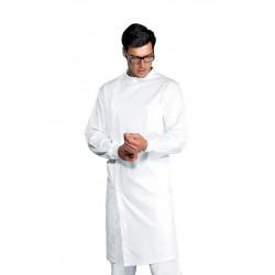 Camice da lavoro dentista bianco polsi in maglia, chiusura laterale per odontotecnici, dentisti-Isacco