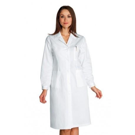 Camice da lavoro bianco donna in tessuto SATIN per medici, farmacisti, biologi- Isacco