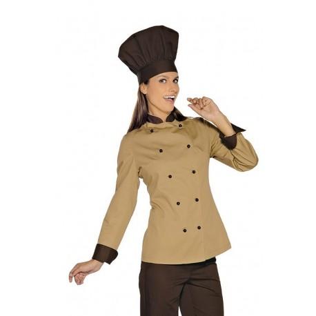 Giacca cuoco femminile sfiancata Lady Royal beige per pasticcere e cake designer- Isacco