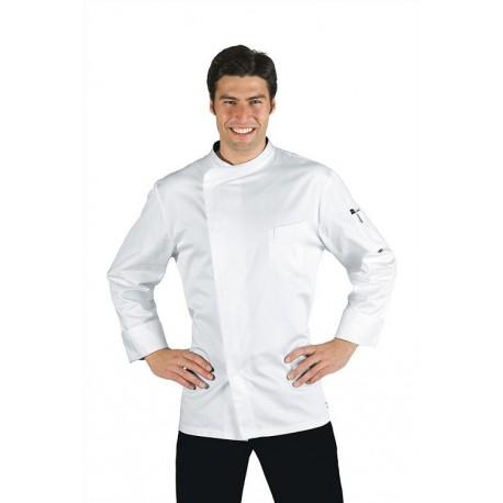 Giacca cuoco bianca con bottoni a pressione Bilbao in tessuto satin - Isacco