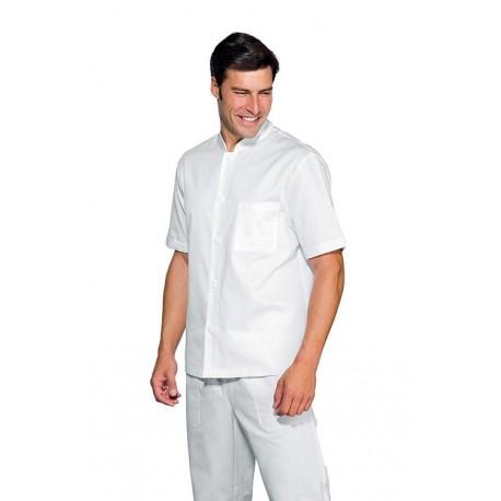 Casacca da lavoro bianca manica corta con collo coreana per fisioterapisti,osteopati - Isacco