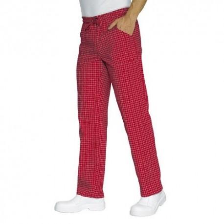 Pantalone da lavoro Denver con elastico e lacci a quadri per cuochi e pizzaioli - Isacco