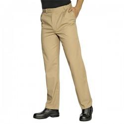 Pantalone da lavoro beige con bottone per pasticceri, cuochi - Isacco