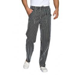 Pantalone da lavoro Londra con elastico e lacci gessato per cuochi, pasticceri, pizzaioli- Isacco