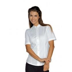 Camicia da lavoro donna bianca Hollywood Stretch manica corta per cameriere e bariste- Isacco