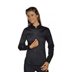 Camicia da lavoro donna nera Hollywood Stretch manica lunga per cameriere, bariste - Isacco
