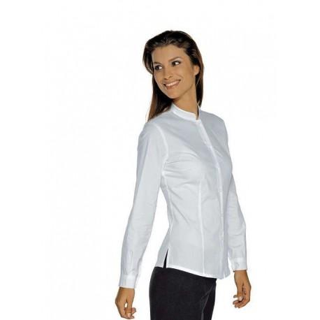 Camicia da lavoro donna bianca Hollywood Stretch manica lunga per cameriere, receptionist- Isacco