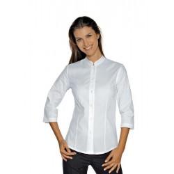 Camicia da lavoro donna bianca Hollywood Stretch manica 3/4 per cameriere e receptionist- Isacco