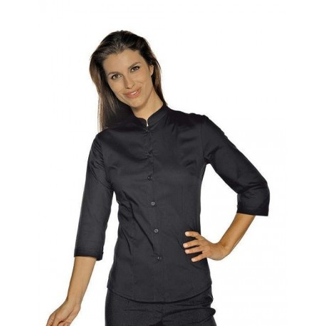 Camicia da lavoro donna nera Hollywood Stretch manica 3/4 per cameriere e bariste- Isacco