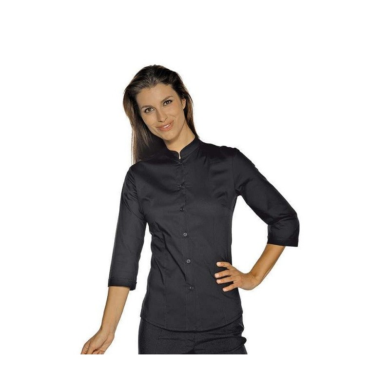 finest selection ca551 529f4 Camicia da lavoro donna nera Hollywood Stretch manica 3/4 per cameriere e  bariste- Isacco