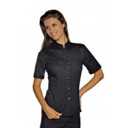 Camicia da lavoro donna nera Hollywood Stretch manica corta per cameriere e bariste- Isacco