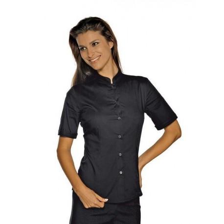 1575dde62043 Camicia da lavoro donna nera Hollywood Stretch manica corta per cameriere e  bariste- Isacco