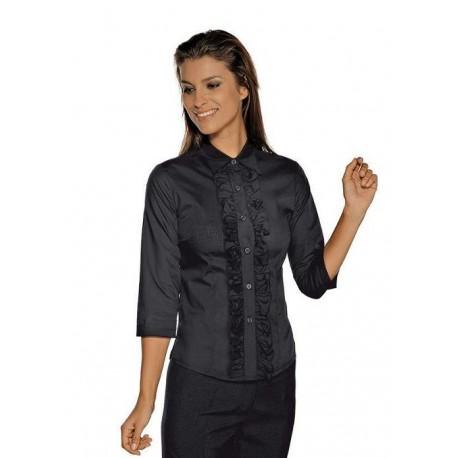 Camicia da lavoro nera Etoile maniche 3/4 per cameriere e bariste- Isacco