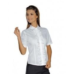Camicia da lavoro donna bianca Etoile maniche corte con merletti per receptionist- Isacco