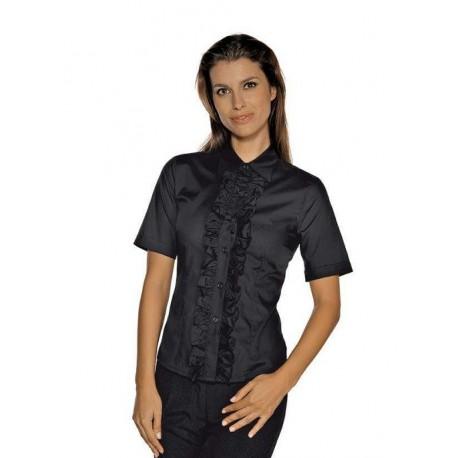 Camicia da lavoro nera Etoile maniche corte per cameriere- Isacco