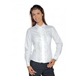 Camicia da lavoro donna bianca Etoile maniche lunghe con merletto per receptionist- Isacco