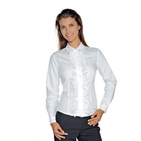 f5c388d5a5 Camicia da lavoro donna bianca Etoile maniche lunghe con merletto per  receptionist- Isacco