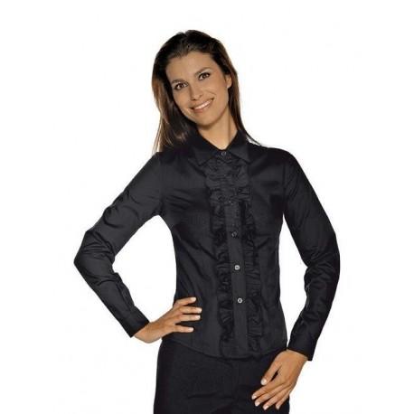 Camicia da lavoro donna nera Etoile maniche lunghe co merletti per hostess- Isacco