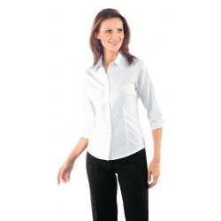 Camicia da lavoro donna bianca Tenerife Stretch maniche 3/4- Isacco