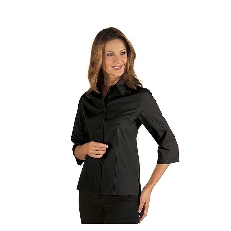 best service d2d13 3e0af Camicia da lavoro donna nera Tenerife Stretch maniche 3/4- Isacco