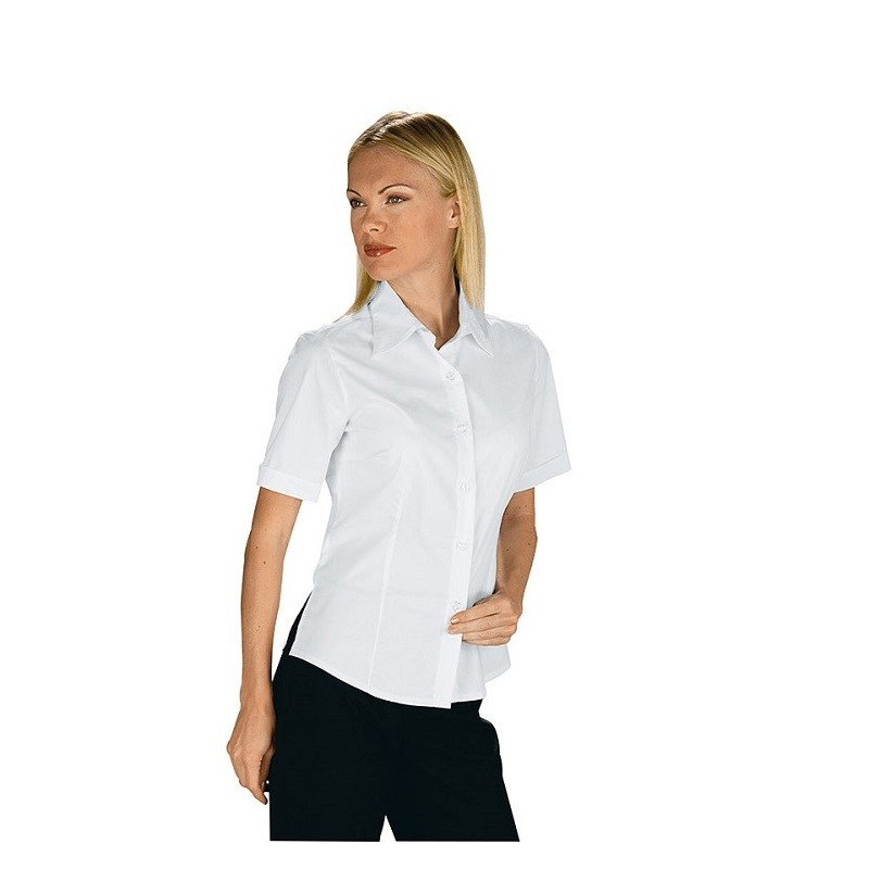 ea71aab760b15a Camicia da lavoro donna bianca Tenerife Stretch maniche corte- Isacco
