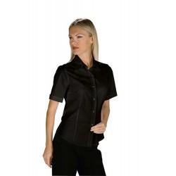 Camicia da lavoro donna nera Tenerife Stretch maniche corte- Isacco