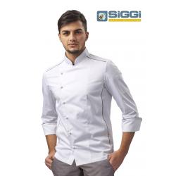 Giacca cuoco Adrian bianca con profilo grigio, traspirante- Siggi