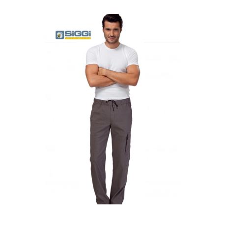 Pantaloni da lavoro con elastico in vita tortora per cuochi, pizzaioli- Siggi