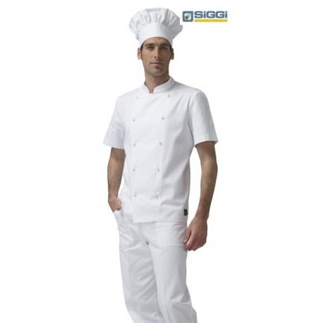 Giacca doppiopetto cuoco Antonio manica corta bianca-Siggi