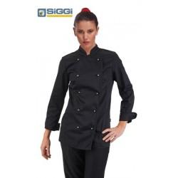 Giacca doppiopetto cuoco donna Amabel nera con bottoni sferici- Siggi
