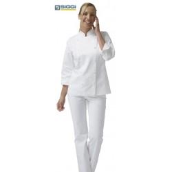 Giacca doppiopetto cuoco donna Emma bianca con bottoni sferici- Siggi