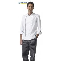Giacca doppiopetto cuoco Marco manica lunga bianca/nera- Siggi