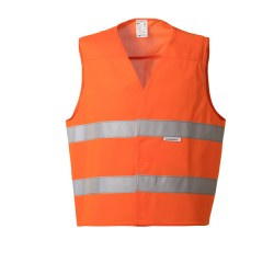 Gilet da lavoro arancio con bande orrizzontali 2 cat. per asfaltisti, manutentori strade- Lucentex